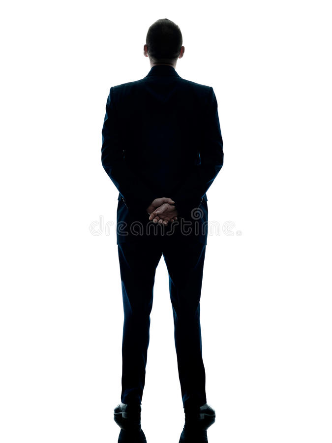 Business man standing rear view isolated royalty free stock photography
