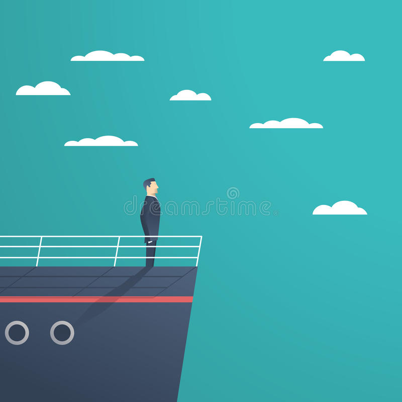 Business man standing on a ship as symbol of leadership, professionalism and strong, powerful manager. Business man standing on a ship as a symbol of leadership vector illustration