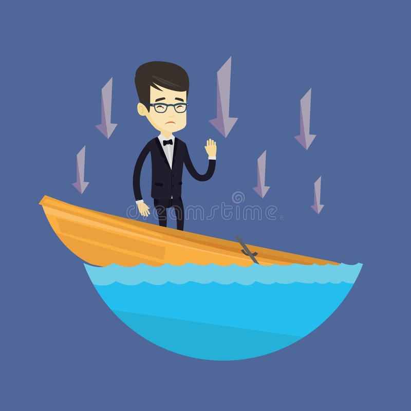 Business man standing in sinking boat. Business man standing in sinking boat and asking for help. Business man sinking and arrows behind him pointing down royalty free illustration