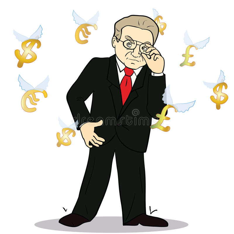 Business man standing, watching for flying. Currency icons. White background. Banking, exchange rate concept, economy. Facial expression, reaction. Illustration vector illustration