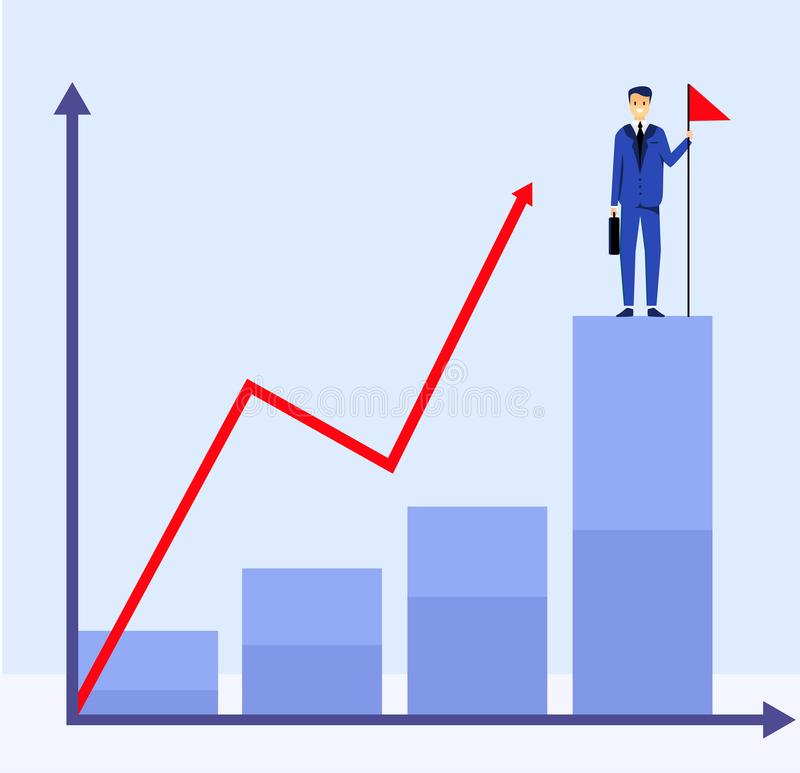 Business man stay on the highest point and graphic upward . Career motivation. Vector illustration design royalty free illustration