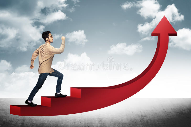 Business Man Step On Red Arrow royalty free stock images