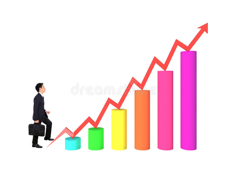 Business man stepping forward on growing 3d bar graph with arrow vector illustration