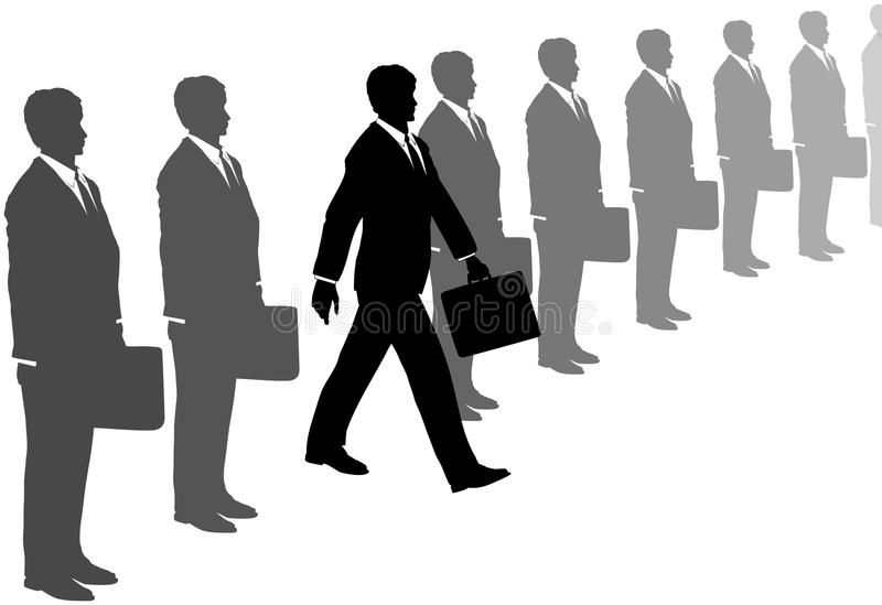 Business man steps out of suits line. A take charge business man with initiative and a briefcase steps out of a line of gray suits stock illustration