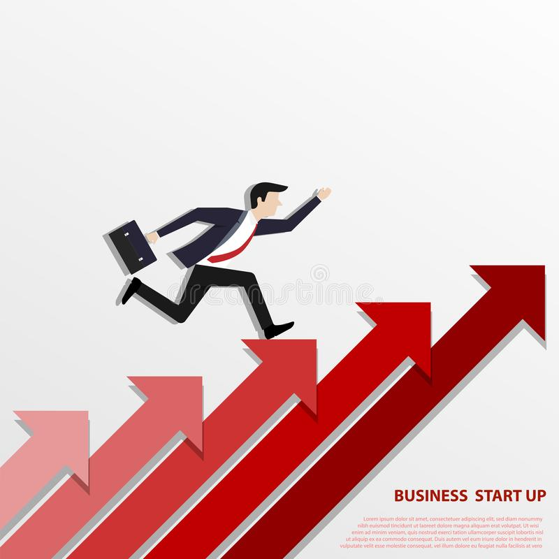A Business man steps up stairs to successful stock illustration