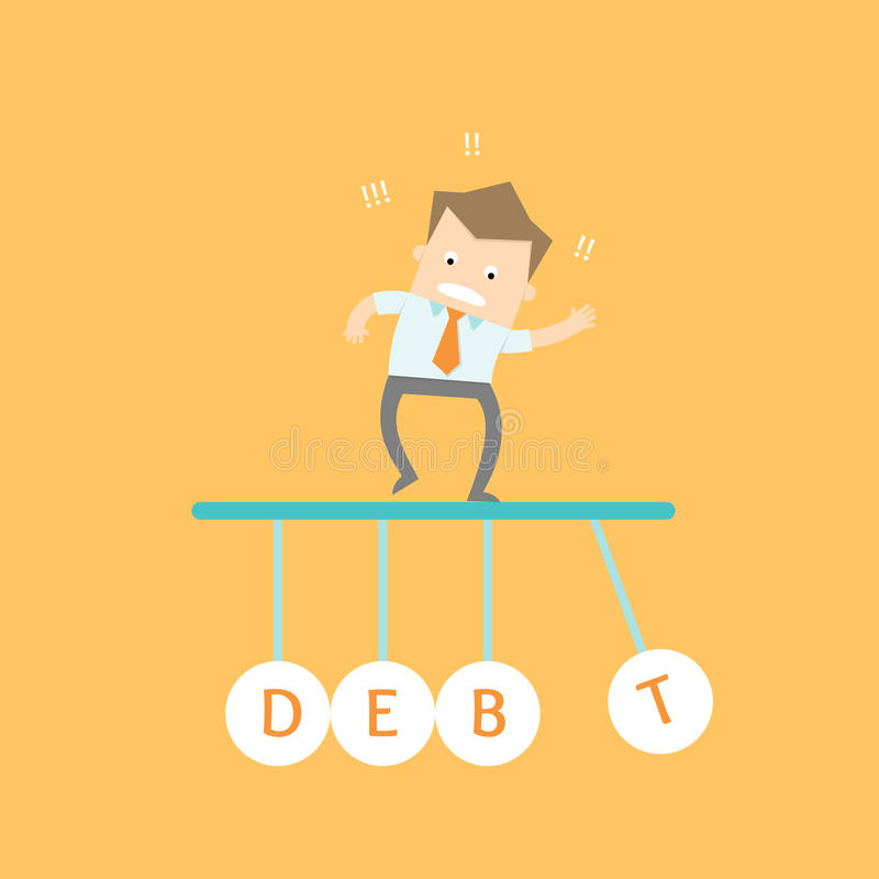 Business man stress out. Debt time due stock illustration