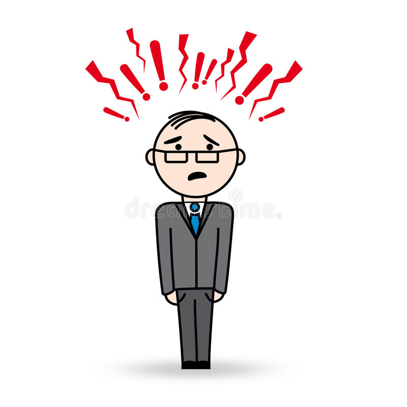 Business man in stress situation. Man with danger and agressive symbols above his head. He wears glasses and has scared expression royalty free illustration