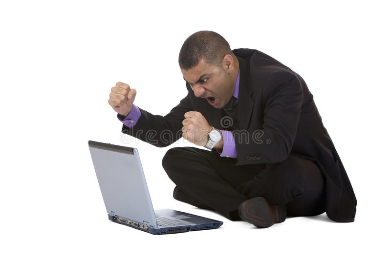 Business man stressed because of computer crash royalty free stock image