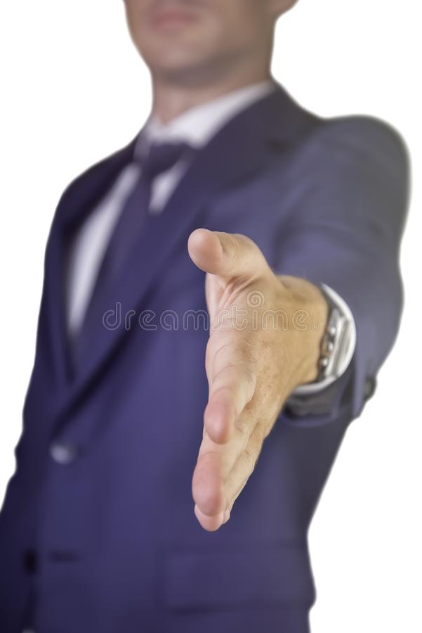 Business man stretching hand to handshake . Man open hand ready to seal a deal,  isolated on a white background. Man open hand ready to seal a deal,  isolated on royalty free stock photo
