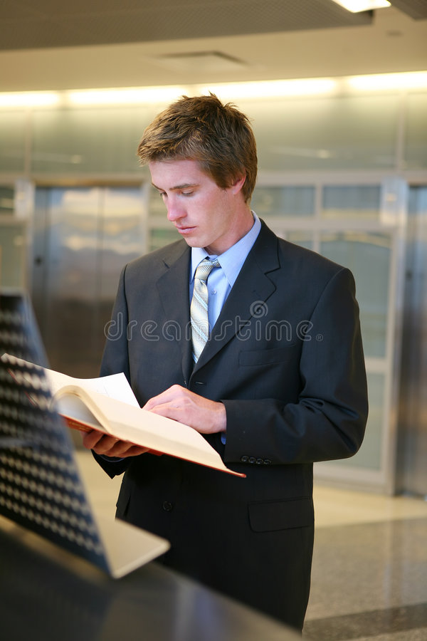 Business Man Studying in Library stock images