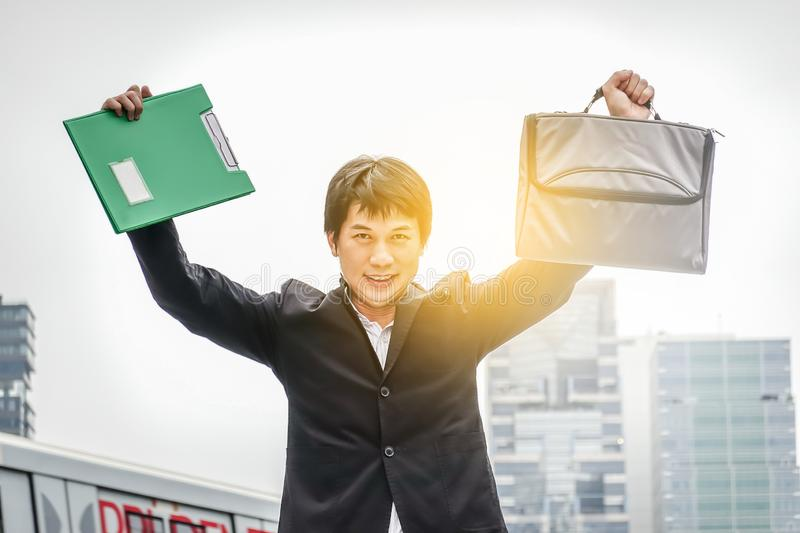 Business man success. Businessman winner. Happy win. Triumph, victory of successful people, person or executive manager in suit. Concept of career. Adult young royalty free stock image