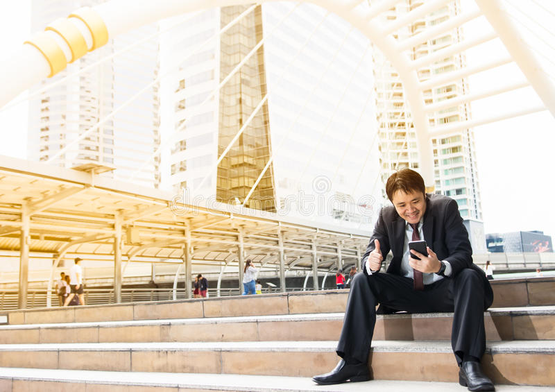 Business man with success feeling royalty free stock photos