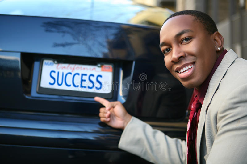 Business Man Success (Fictional License Plate) Royalty Free Stock Photos