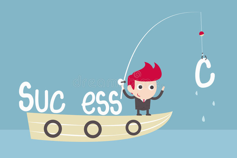 Man success fishing vector illustration