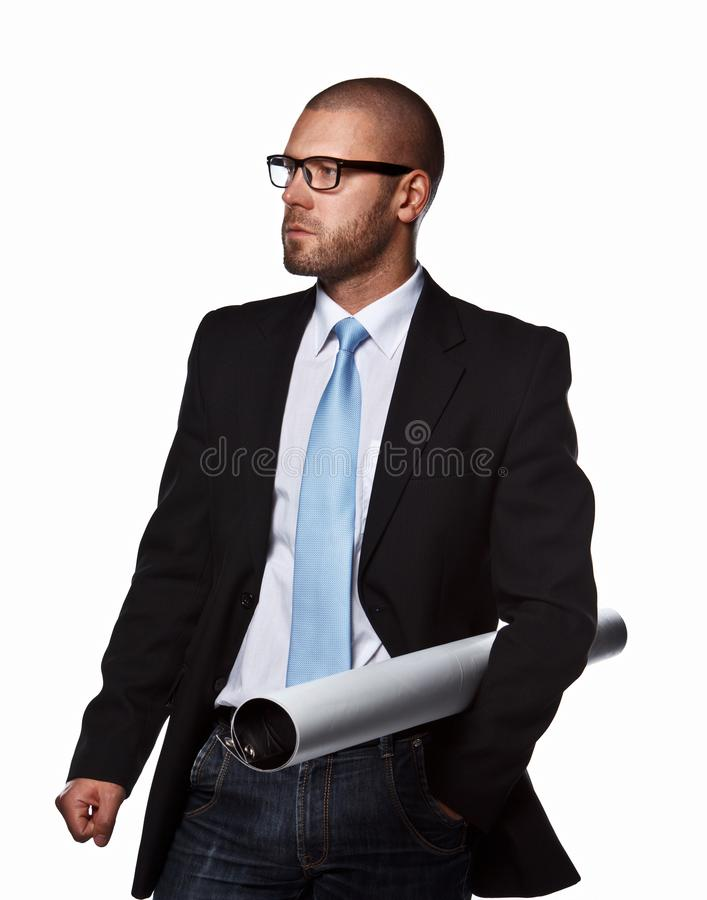 Business man in a suit. royalty free stock photography