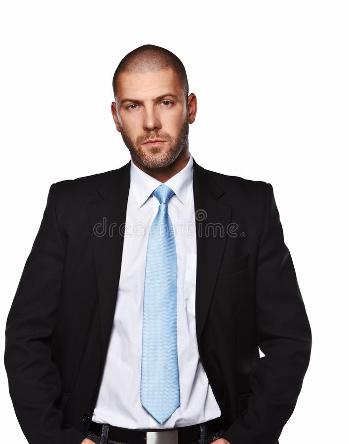 Business man in a suit. Business man in a suit isolated on white royalty free stock images