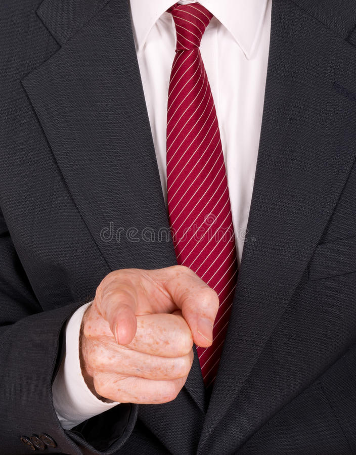Business man in suit pointing finger - angry boss, bully etc stock image