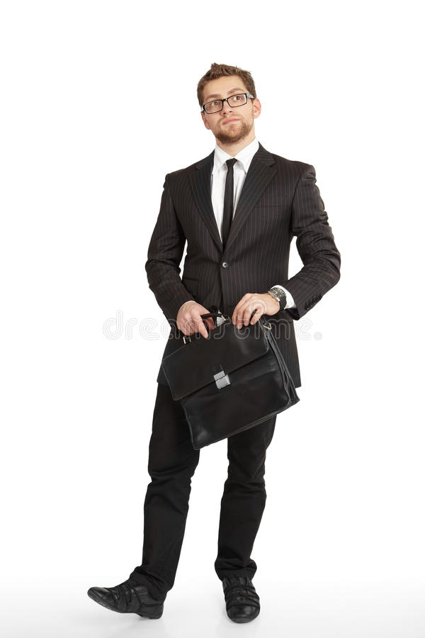 Business man in suit standing stock photos