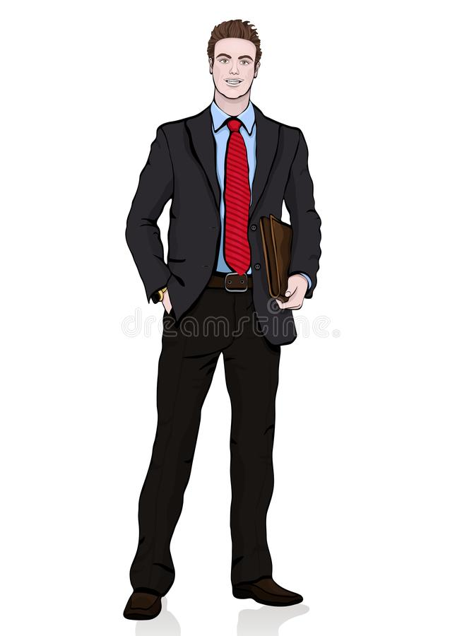 Business man in suit with a tie with a briefcase in his hands standing front side, vector cartoon portrait male full-length, multi vector illustration