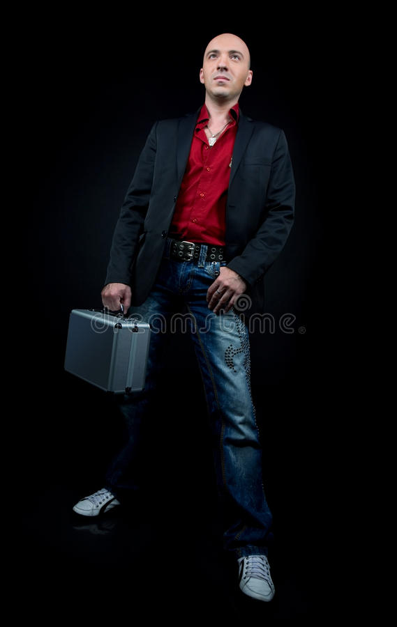 Business man with a suitcase royalty free stock images