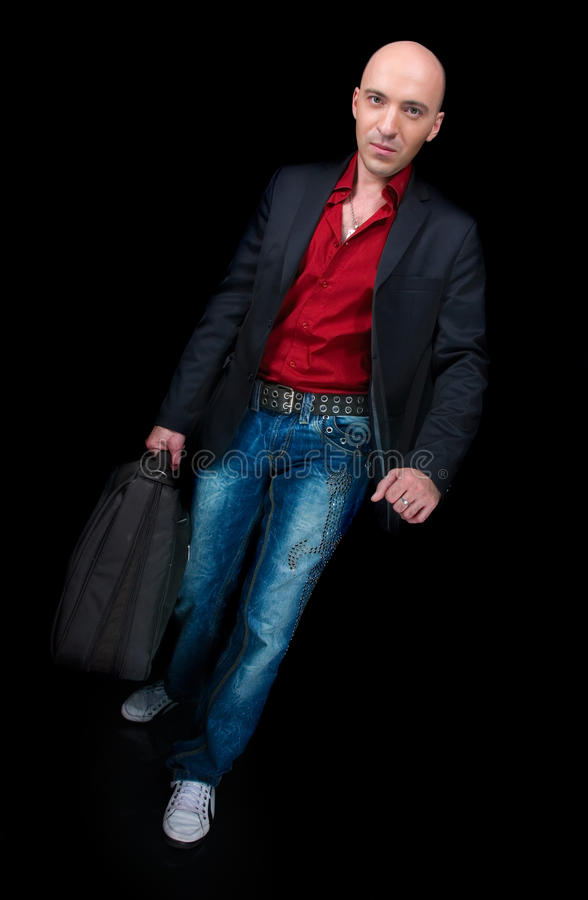 Business man with a suitcase stock image
