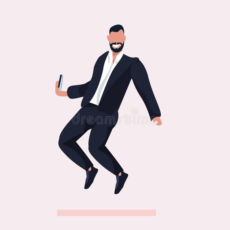 Business man taking selfie photo on smartphone camera businessman in formal wear male cartoon character posing in suit. Flat full length vector illustration vector illustration