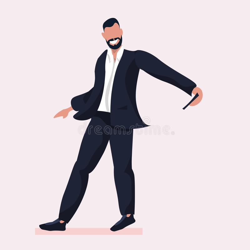 Business man taking selfie photo on smartphone camera businessman in formal wear male cartoon character posing in suit. Flat full length vector illustration stock illustration