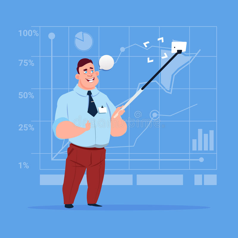 Business Man Taking Selfie Photo With Stick On Cell Smart Phone stock illustration