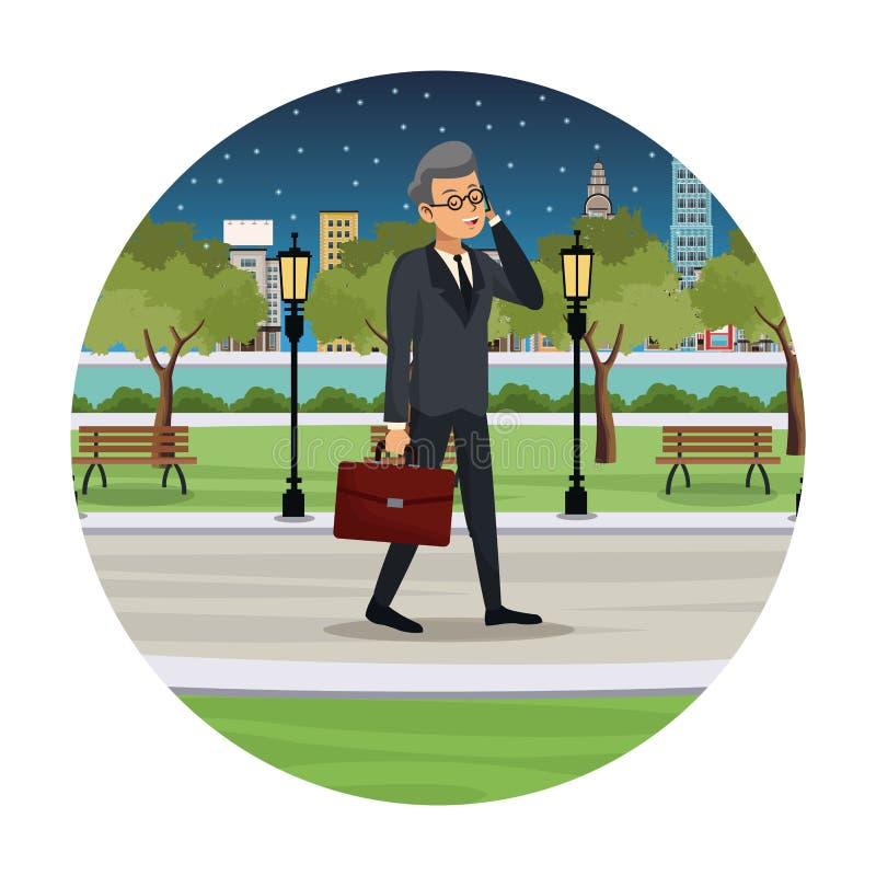 business man talk walking street view night royalty free illustration