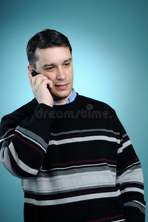 Business man talking on cell phone stock photography