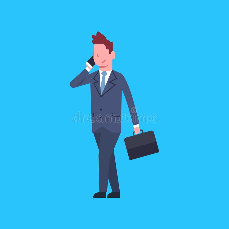 Business Man Talking On Cell Smart Phone Male Office Worker Businessman Corporate Isolated. Flat Vector Illustration royalty free illustration