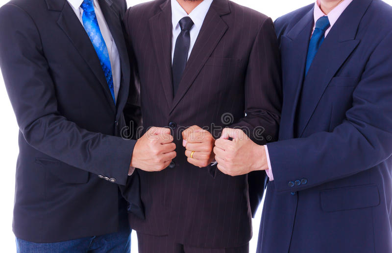 Business man team showing fist hand royalty free stock images