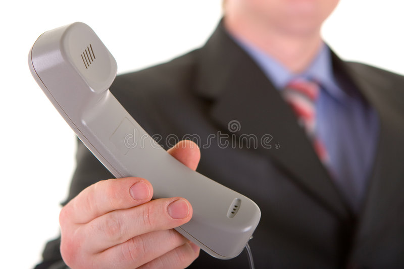 Business man with telephone royalty free stock photo