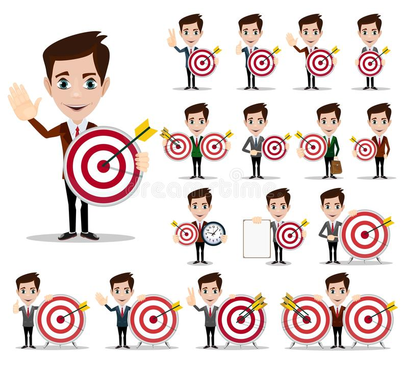 Business man thinking about target. Vector red dart showing success. Stock Vector illustration stock illustration