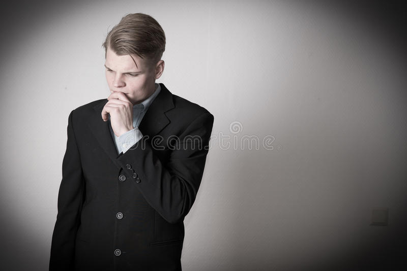 Business man thinking royalty free stock photos