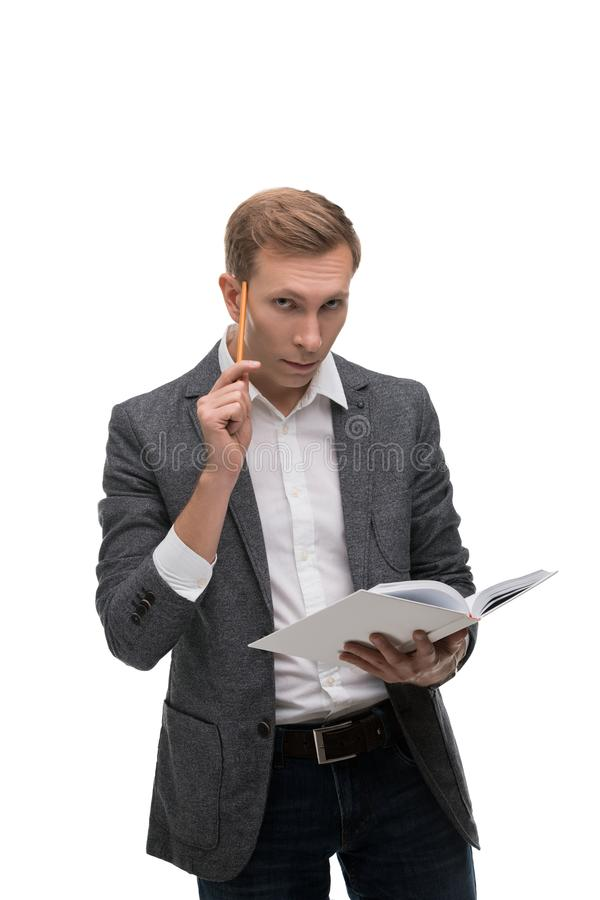 Business man with a thoghtful look portrait royalty free stock photo