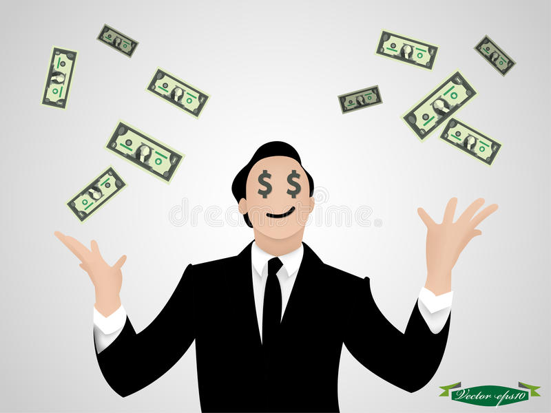 Business man throw money vector. Beautiful graphic design of business man throw money vector royalty free illustration