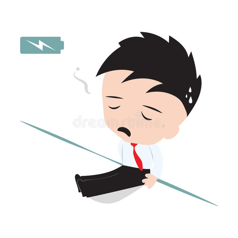 Business man tired and lean against the wall with battery indicator to show energy level and need to recharged stock illustration