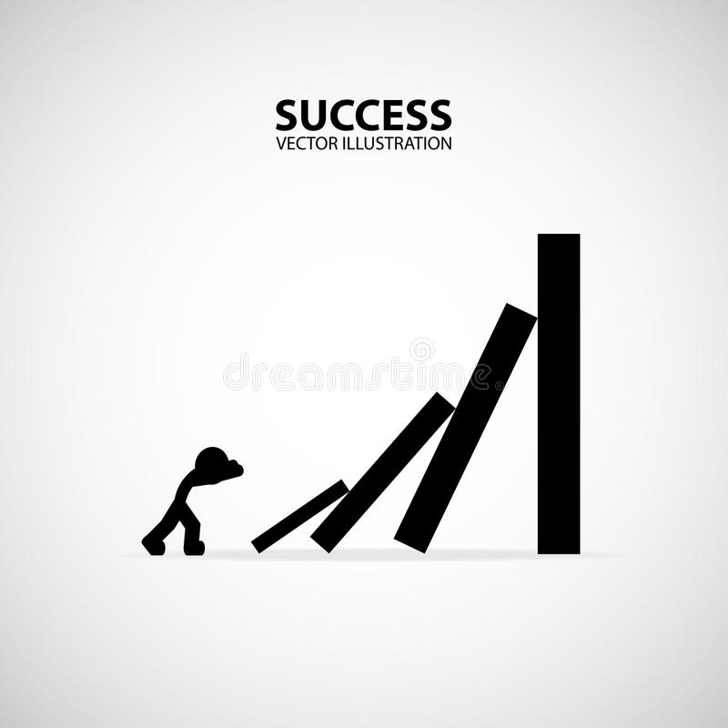 Business man toppling dominoes. Domino effect. Silhouette Graphic Design. Success Concept. vector illustration