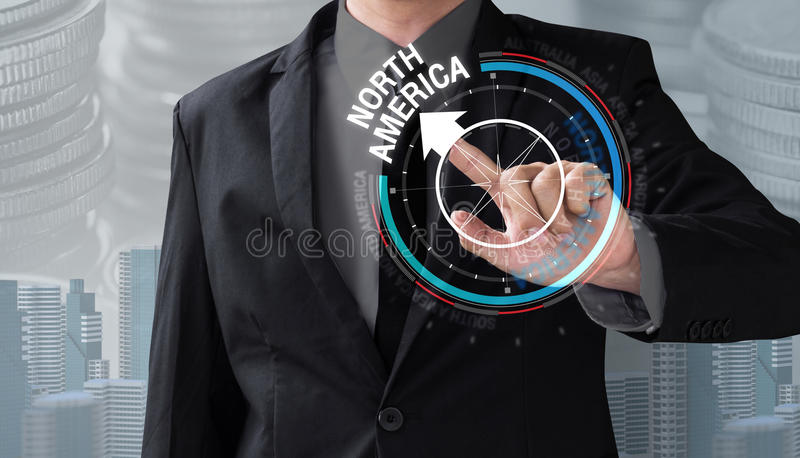 Business man touch rotate compass investment. In north america, management concept stock images