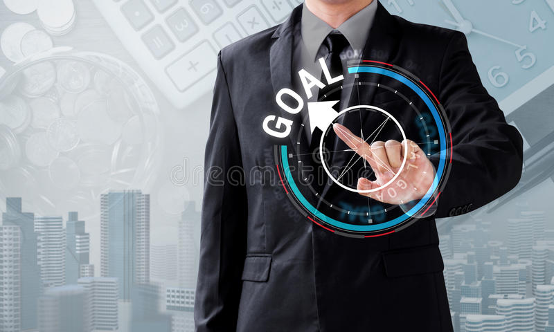 Business man touch rotate compass to goal direction. Management concept royalty free stock photos