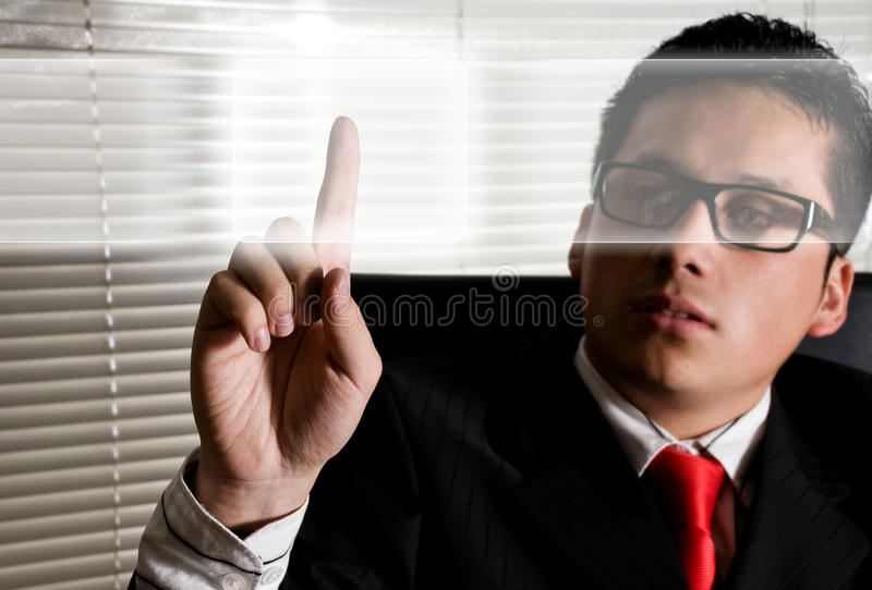 Business man touching digital screens royalty free stock photo