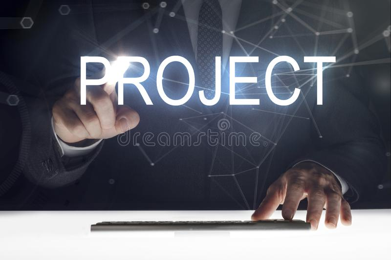 Business man touching screen with `Project` writing royalty free stock photography