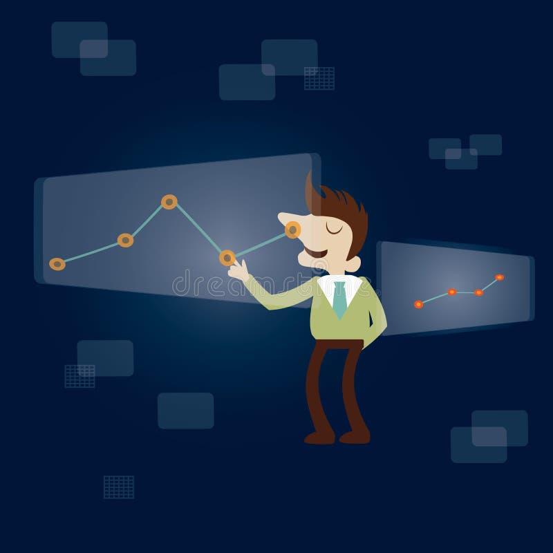 Business man touching smart screen. vector illustration