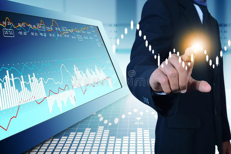 Business man touching the stock chart. Digital illustration of Business man touching the stock chart royalty free stock photo