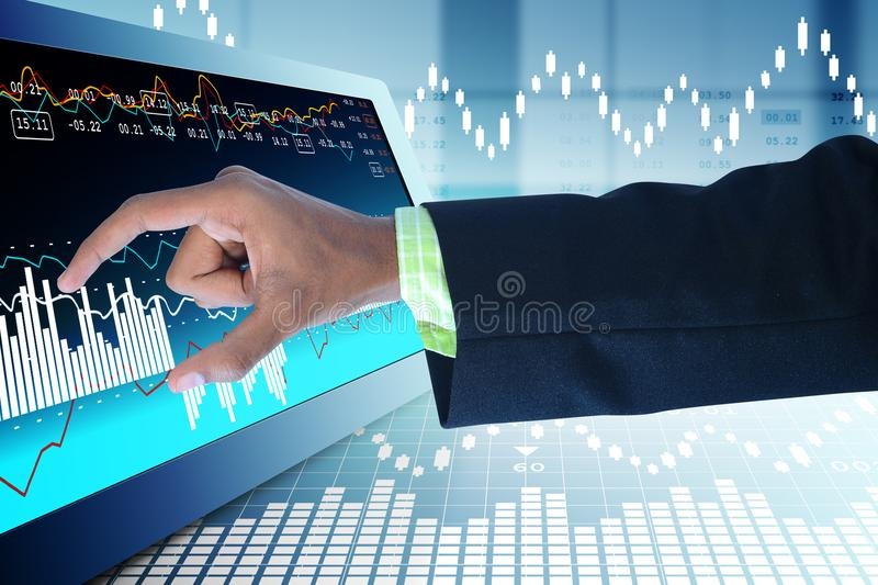 Business man touching the stock chart. Digital illustration of Business man touching the stock chart in color background stock photos