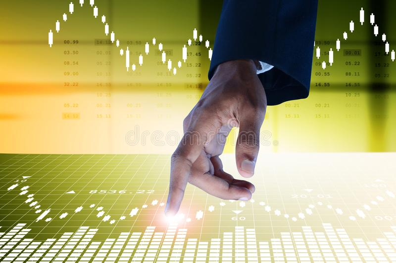Business man touching the stock chart. Digital illustration of Business man touching the stock chart in color background royalty free stock images