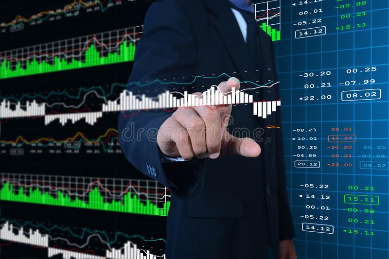Business man touching the stock chart. Digital illustration of Business man touching the stock chart in color background stock images