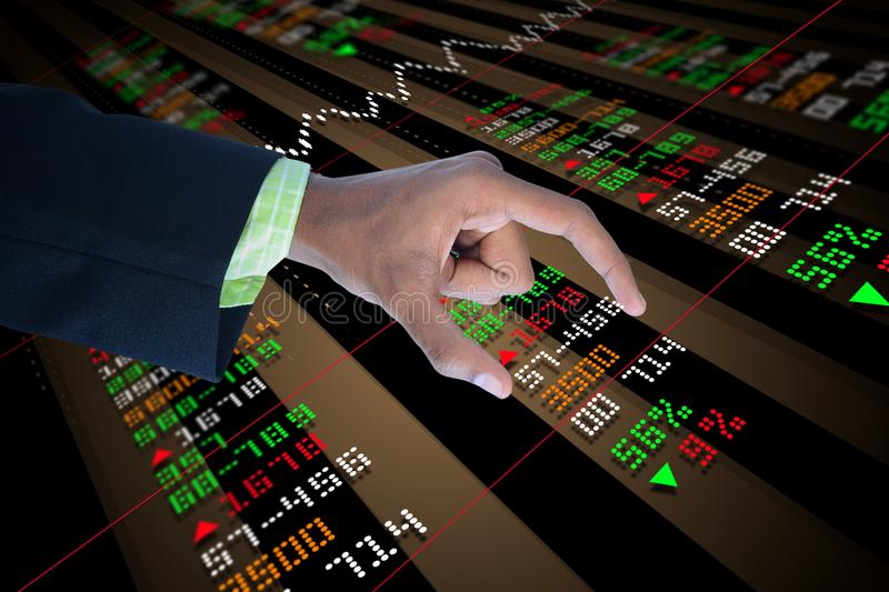 Business man touching the stock chart. Digital illustration of Business man touching the stock chart in color background stock image