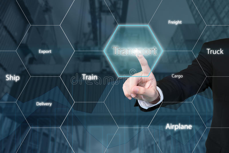 Business man touching transport icon. royalty free stock photos